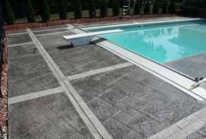 Stamped flooring near swimming pool