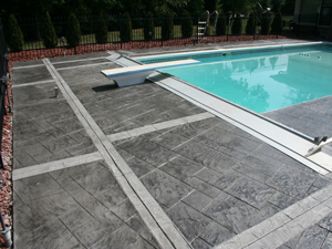 Stamped flooring near swimming pool