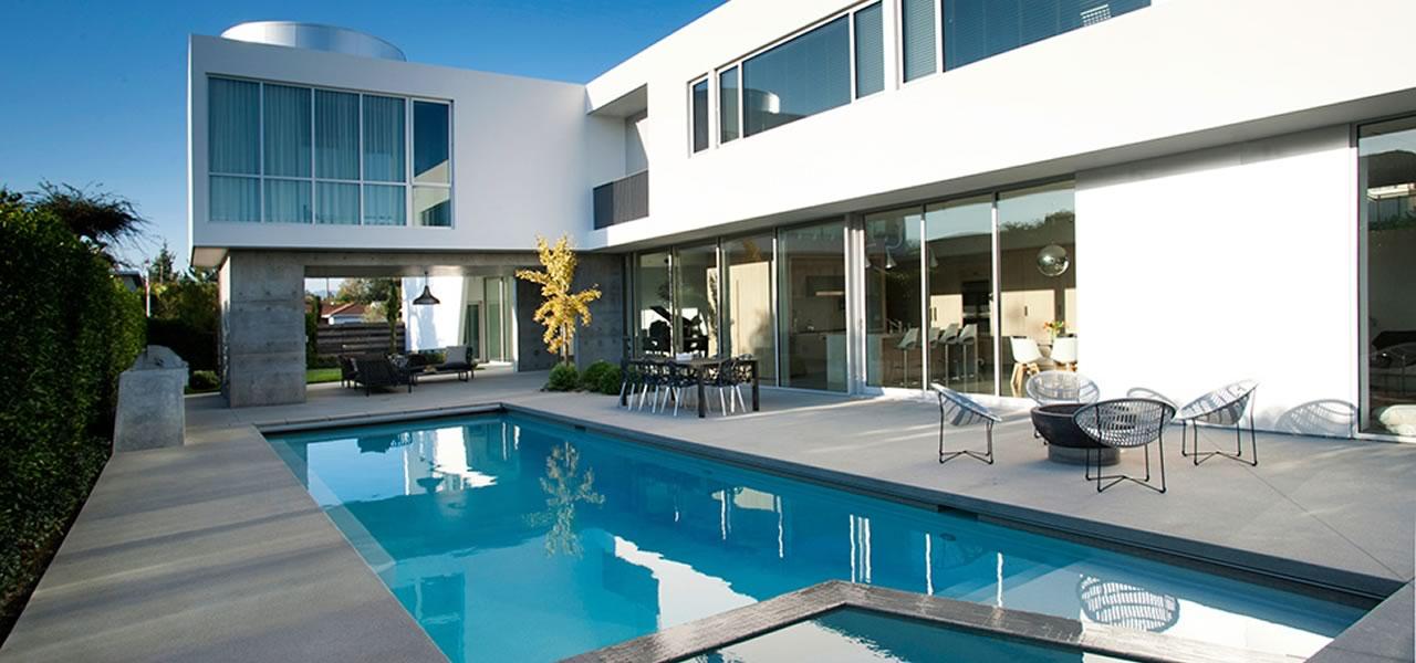 artistic concrete poolside modern